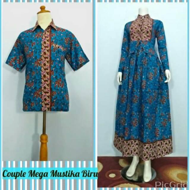 Baju Pasangan Gamis Dress Couple Batik Mega Mendung Sarimbit Batik