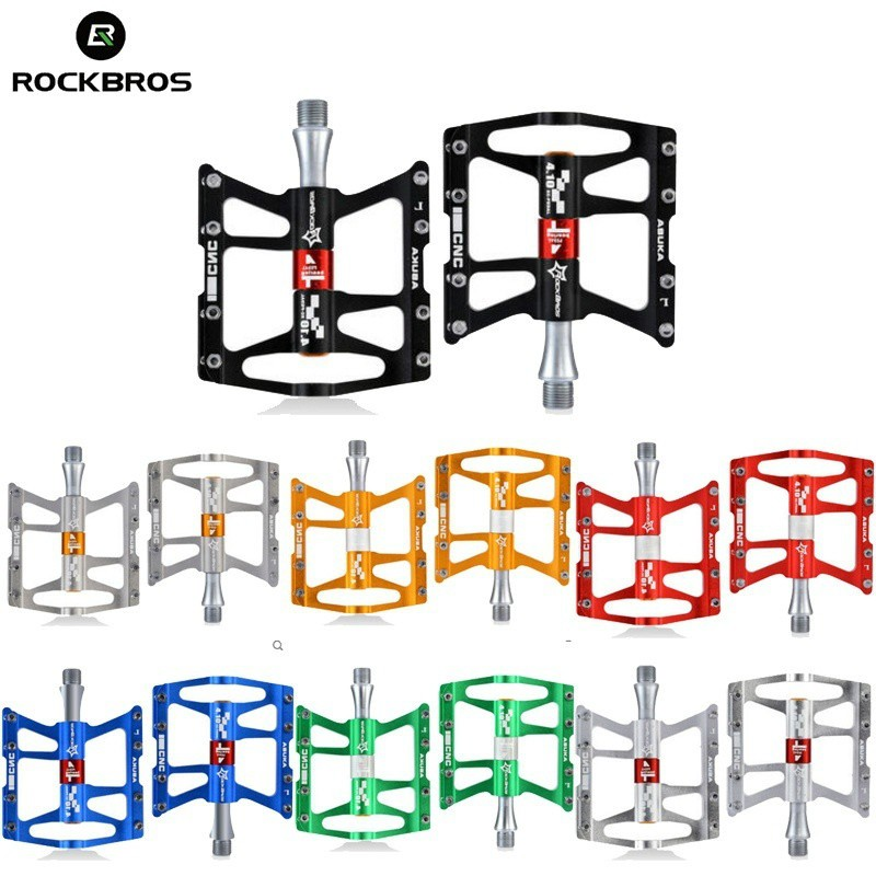 RockBros BMX MTB Road Bike Pedals Aluminum Alloy Sealed Bearing Black Purple