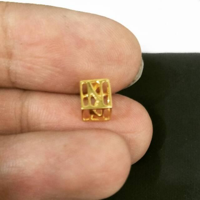 Liontin emas asli kadar 875 huruf n square