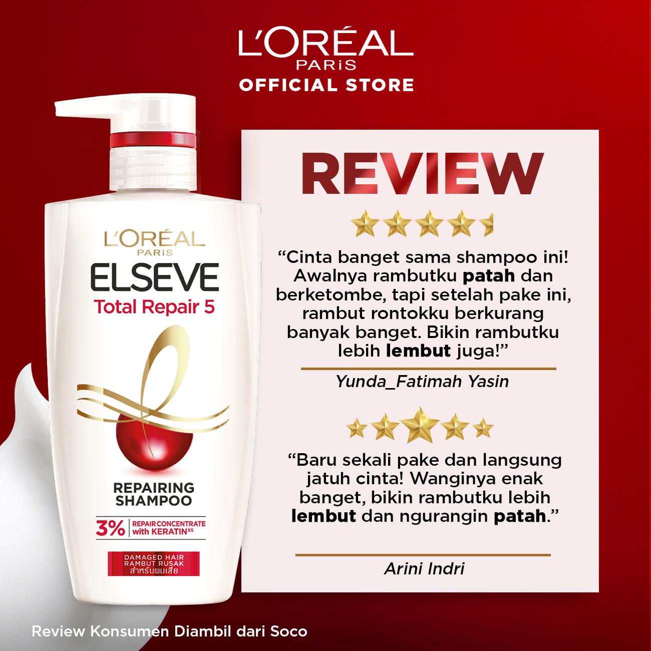 L'Oreal Paris Total Repair 5 Shampoo Hair Care - 450 ml (Perawatan Rambut Rusak dan Mudah Patah)-1