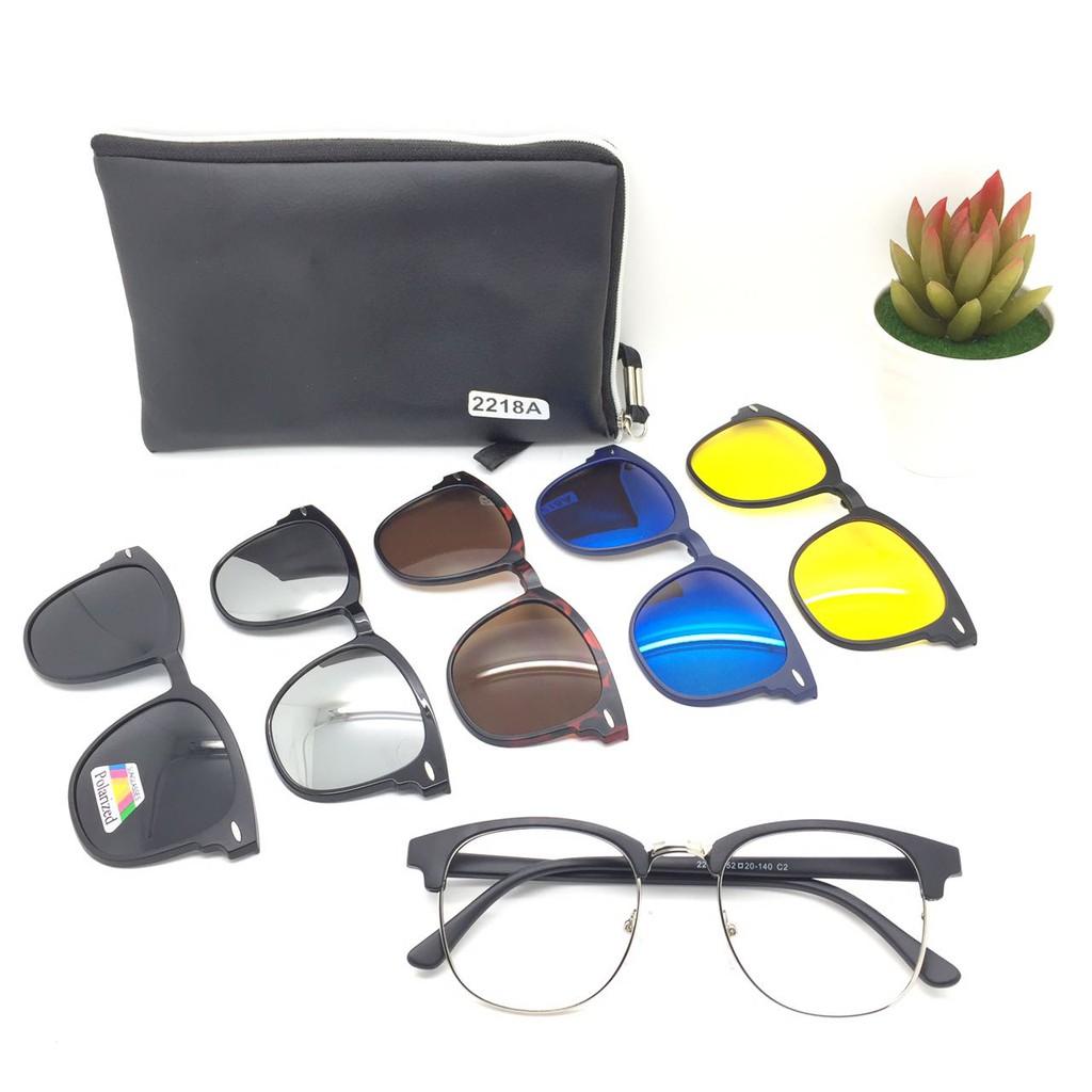 Frame Kacamata Minus Clip On 5 Lensa - Kacamata Polarized Hitam - Kacamata  Magnet  4e8a465e66