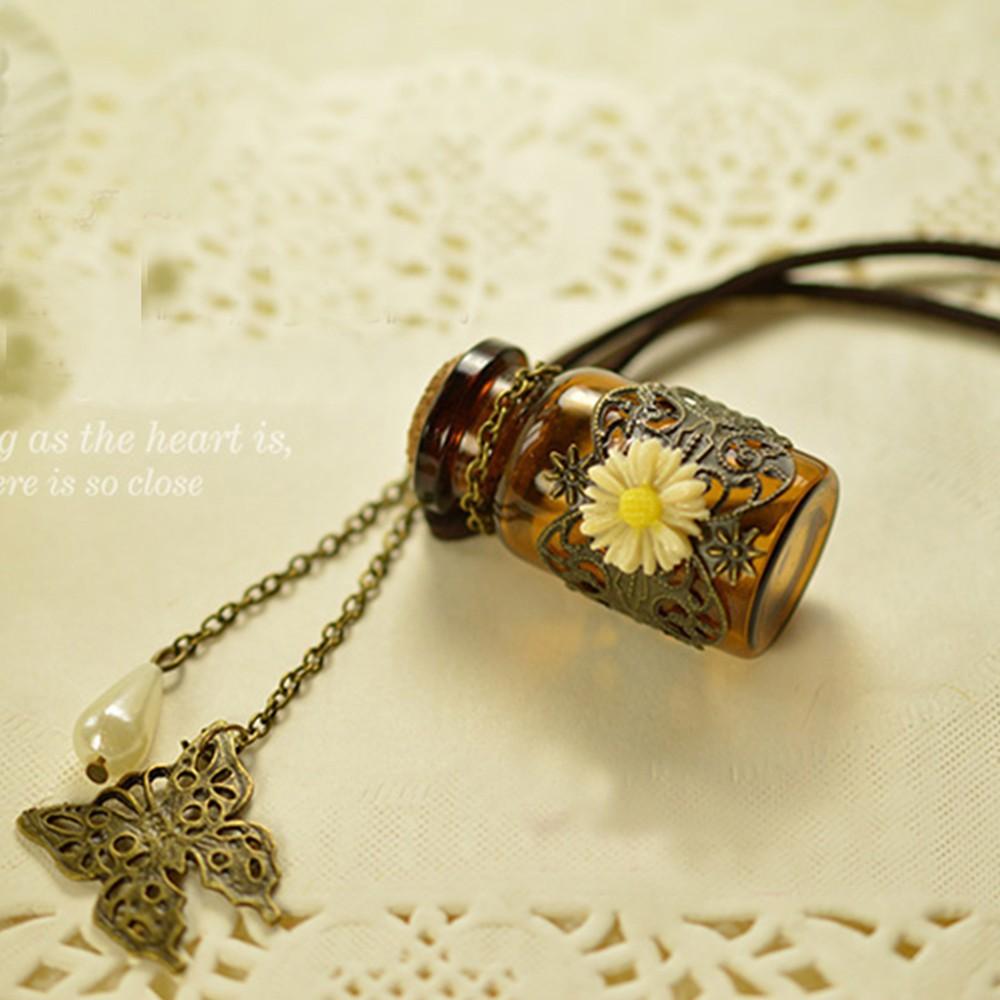 Wishing Bottle Flower Butterfly Pendant Leather Long Sweater Chain Necklace