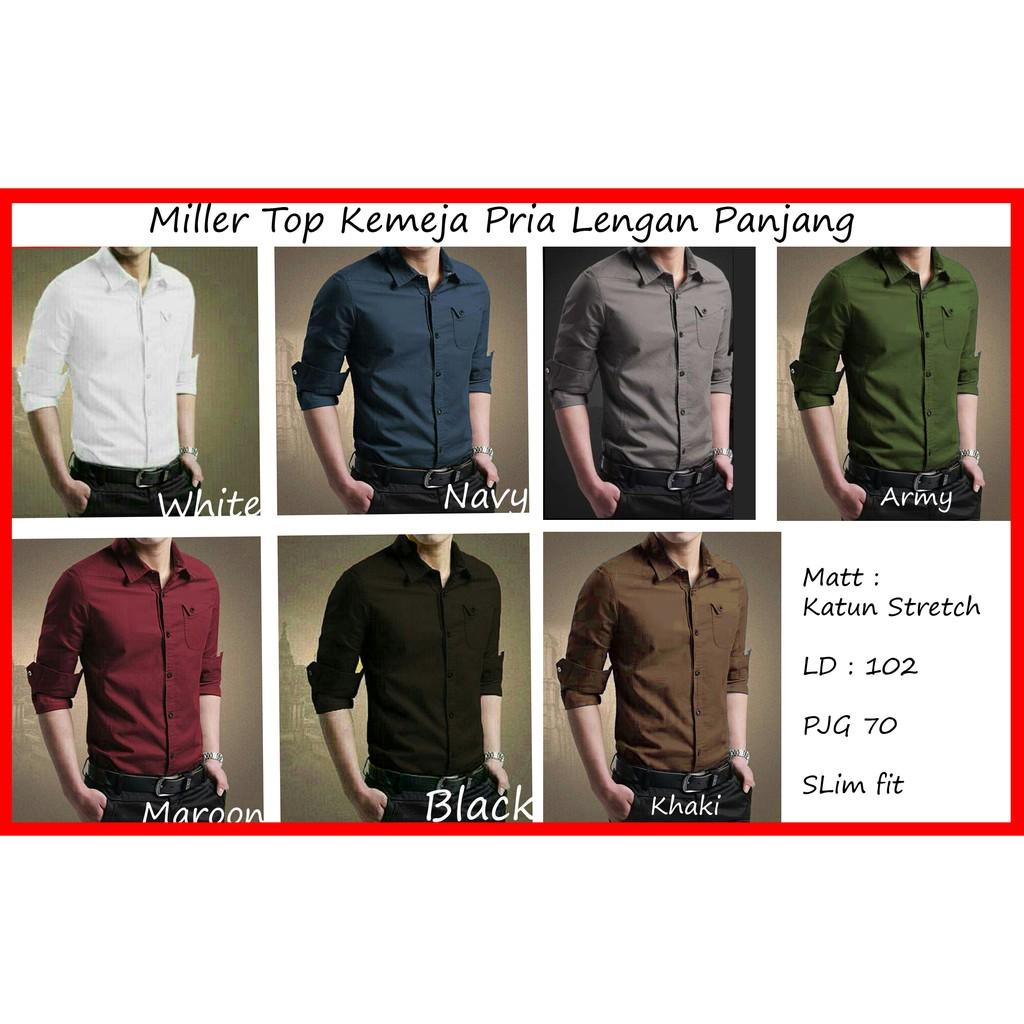 BosBaju - Alvaro Kemeja Pria Lengan Panjang Kantong Simple Basic Miller (8 warna)BEST SELLER | Shopee Indonesia