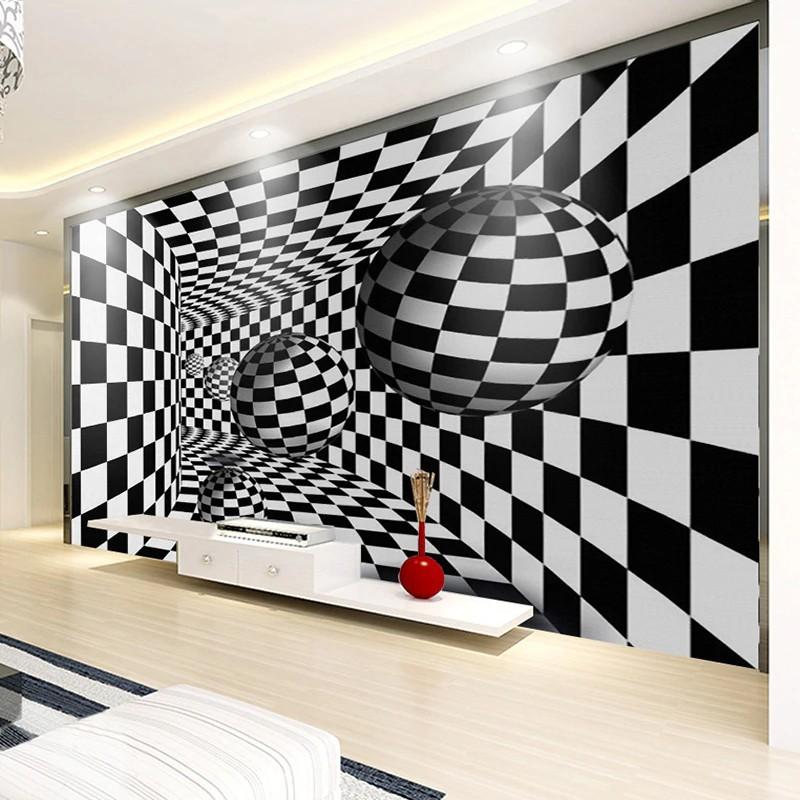 Terbaru Kustom Foto Mural Wallpaper Modern 3d Geometris Hitam Putih Kisi Bola Ruang Tamu Sofa Tv Shopee Indonesia