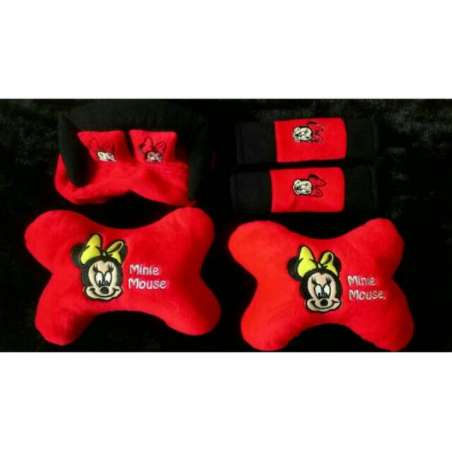 Car Set / Sarung Jok Minnie Mouse Mobil 24 in 1 Bantal Mobil 24in1 Mini Mouse