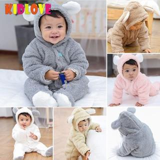 Newborn Baby Boy Girl Winter Warm Rabbit Ear Hooded Romper Jumpsuit Outwear Coat