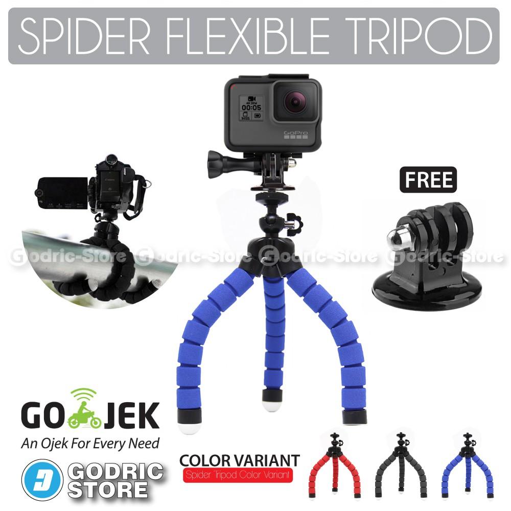 Attanta Mini Tripod M 103a Silver With Mount For Gopro Brica Tokocamzone Spider Flexible Holder U Smartphones Promo W