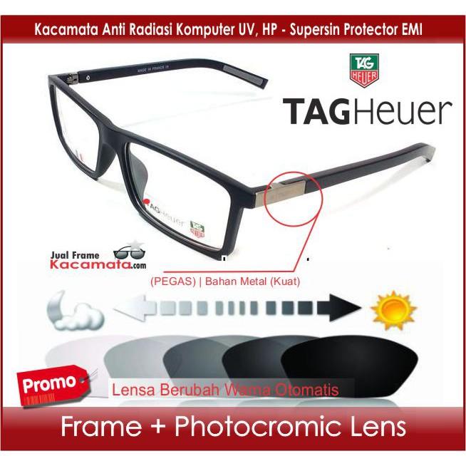 Frame Kacamata + Photogrey Lensa Minus   Baca Berubah Warna Otomatis -  Kacamata Hitam Pria Wanita  a6aefdd531