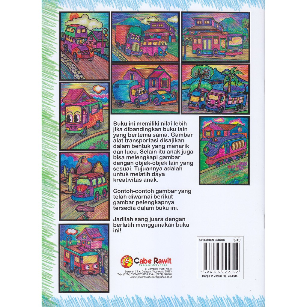 Buku Anak Jago Mewarnai Alat Transportasi Dengan Pensil Warna Atau Crayon