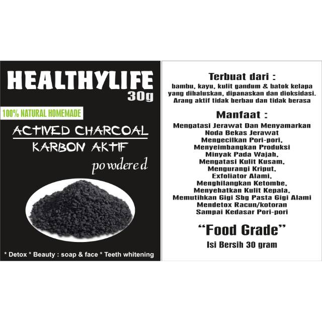 Karbon Aktif Arang Aktif Activited Charcoal 30 Gram Shopee Indonesia