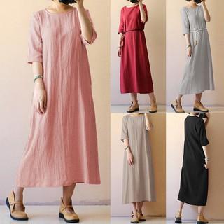 Bayar Di Tempat Womens Round Neck Half Sleeve Vintage Casual Loose Baggy Dress Shopee Indonesia