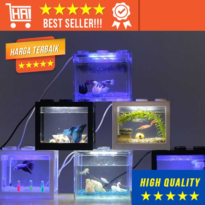 Aquarium Mini With Led Lamp Akuarium Ikan Lampu Portable Hiasan Dekorasi Ruangan Rumah Meja Cupang Shopee Indonesia