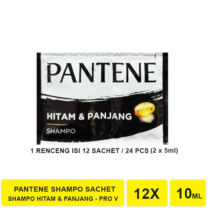 SHAMPO PANTENE SACHET 1 RENCENG ISI 12 SACHET-HITAM