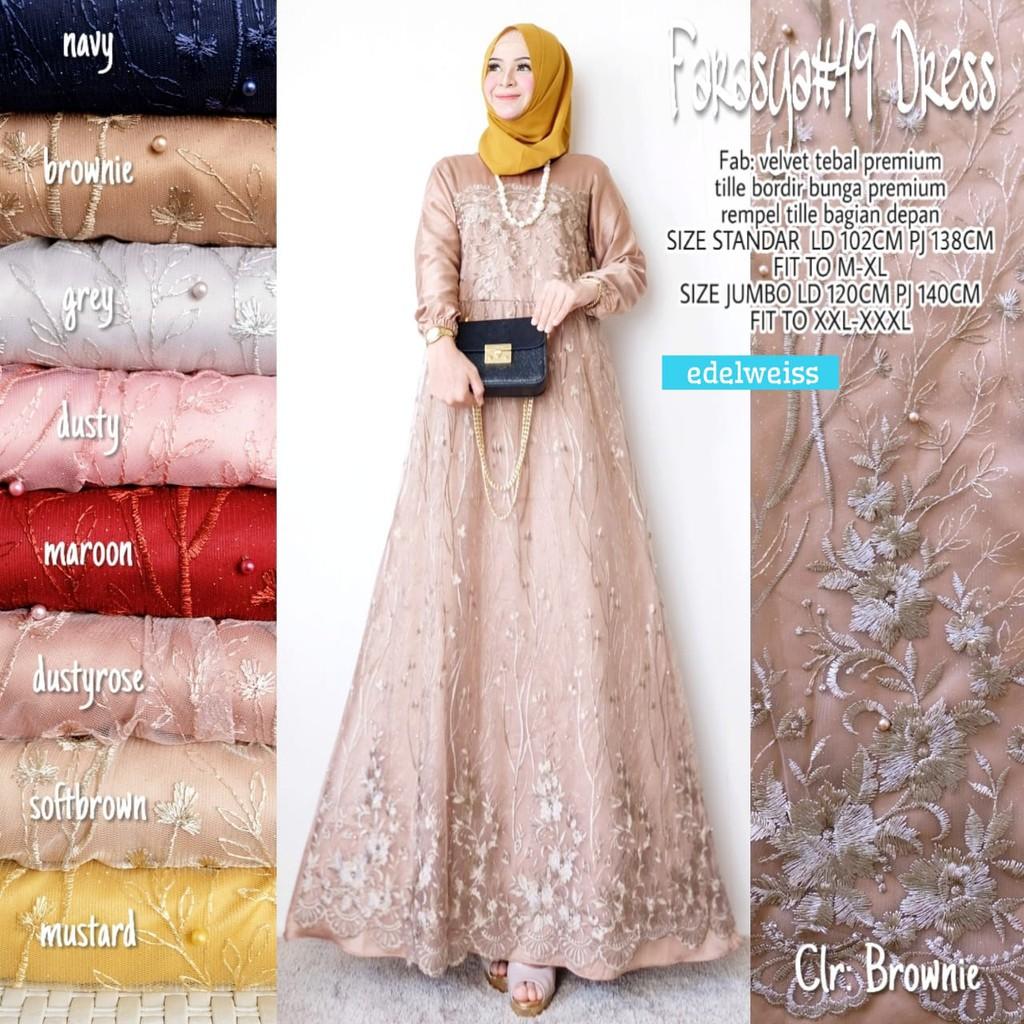 Farasya #9 Dress / Dress kondangan bridal wedding wisuda / Gamis brokat  murah / Maxy