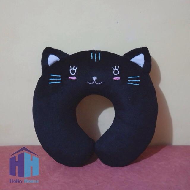 Bantal Leher Karakter Kucing Hitam (Black Cat Neck Pillow) | Shopee Indonesia