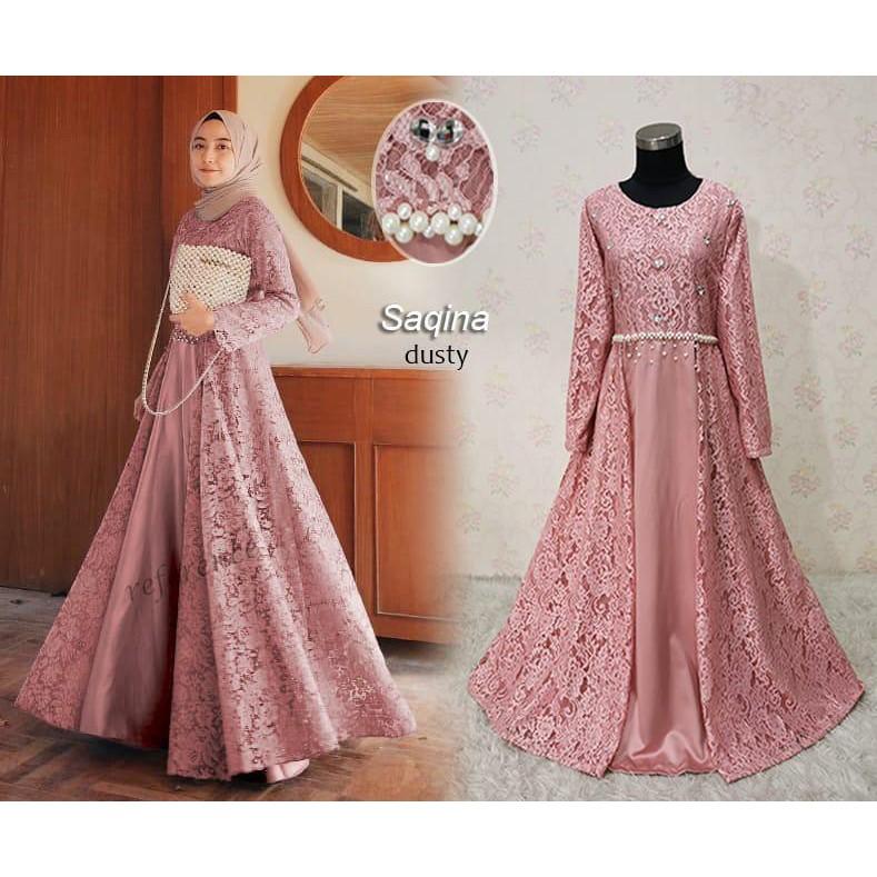 Sale Model Baju Gamis Terbaru Brokat Saqina Shopee Indonesia