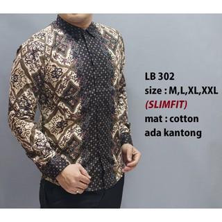 Baju Kemeja Batik Pria Slim Fit Modern Lengan Panjang LB 302 Slimfit Hitam M L XL XXL