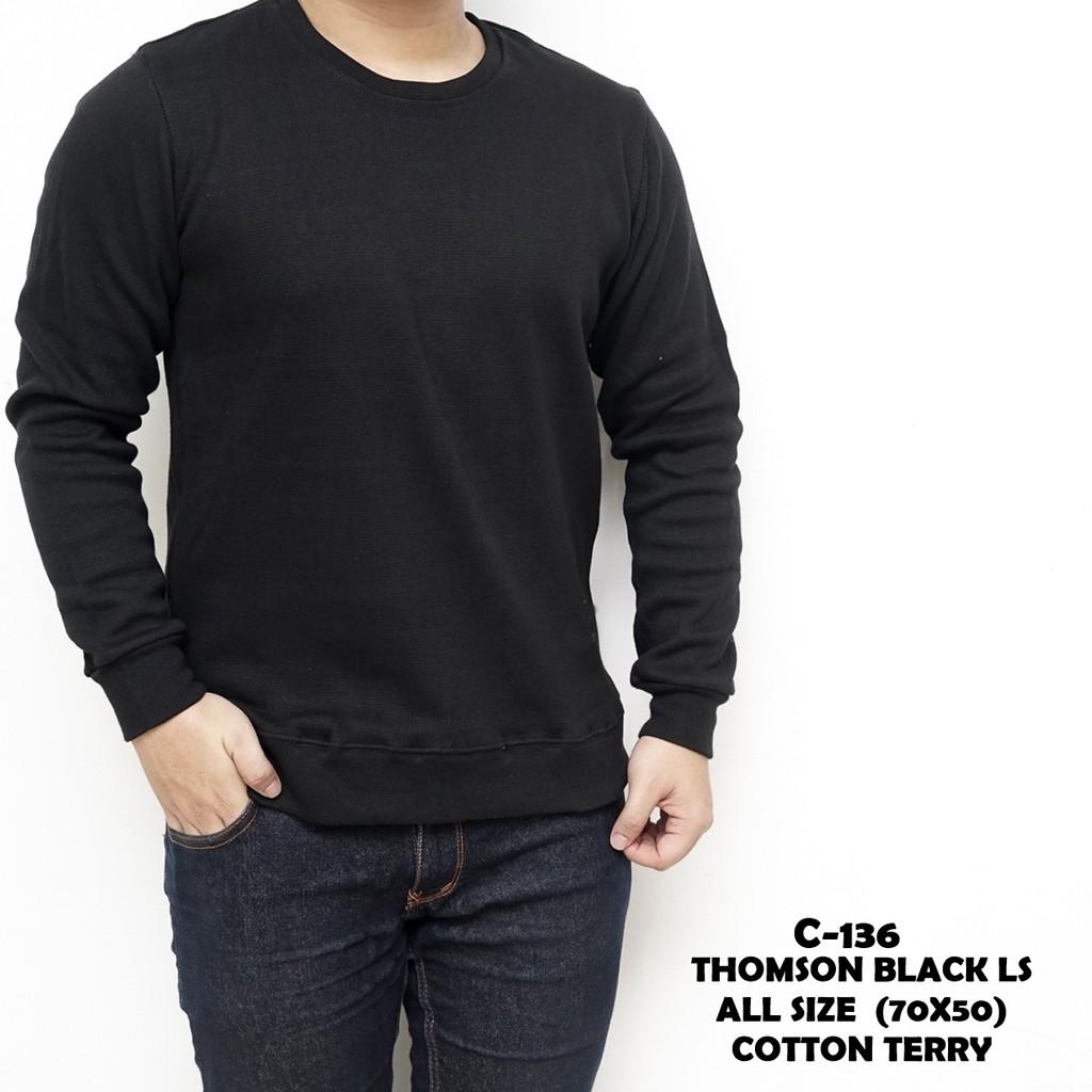 Kaos Lengan Panjang Pria Sweatshirt Sweater Baju Cowok Atlantis Ethnic Ls Sanvanina Polos Casual Katun Murah Thomson Black Shopee