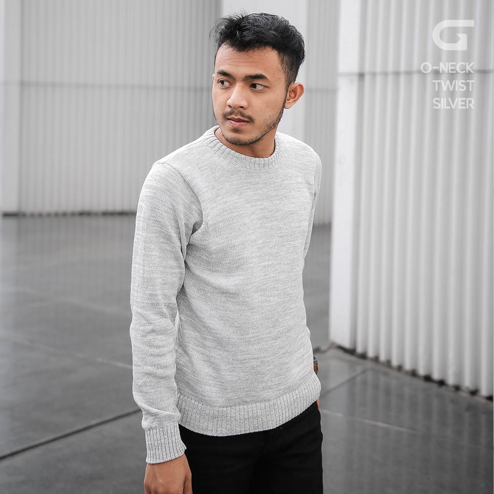 Gomuda Sweater Rajut Pria O Neck Biz Navy Shopee Indonesia Cord Navor
