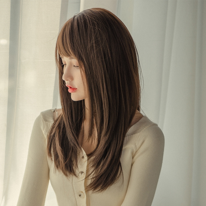 Wig Perempuan Tengah Rambut Panjang Alami Kepala Penuh Wajah Bulat Poni Merah Net Gaya Rambut Korea Shopee Indonesia