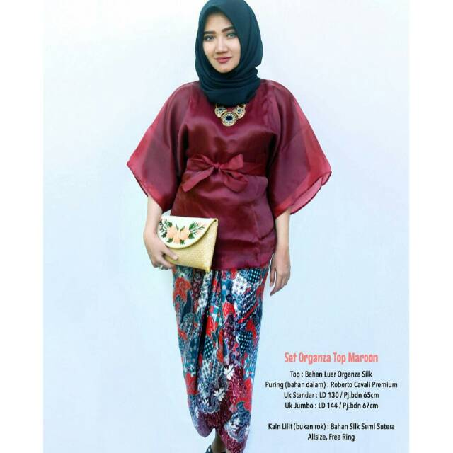 Kebaya Peplum Organza 1 Set Shopee Indonesia