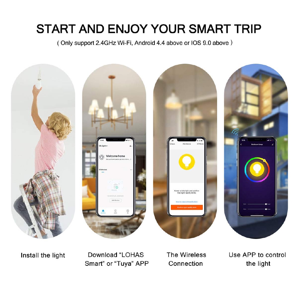 Smart Light Bulb A21 Color Changing Wifi Control Led Bulbs E26 Smart Rgb Cool White Light 100w Equivalent High Brightness Bulb For Alexa Google Assistant Shopee Indonesia