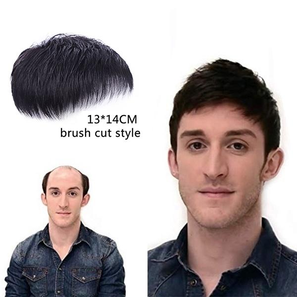 100% Pria Rambut Asli Wig Rambut Pendek