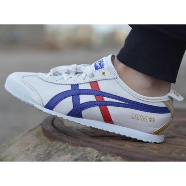 online retailer 393a0 6d4e3 Onitsuka Tiger Mexico 66 Deluxe White/Blue/Red/Gold Sneakers Sepatu Jalan  Pria PREMIUM