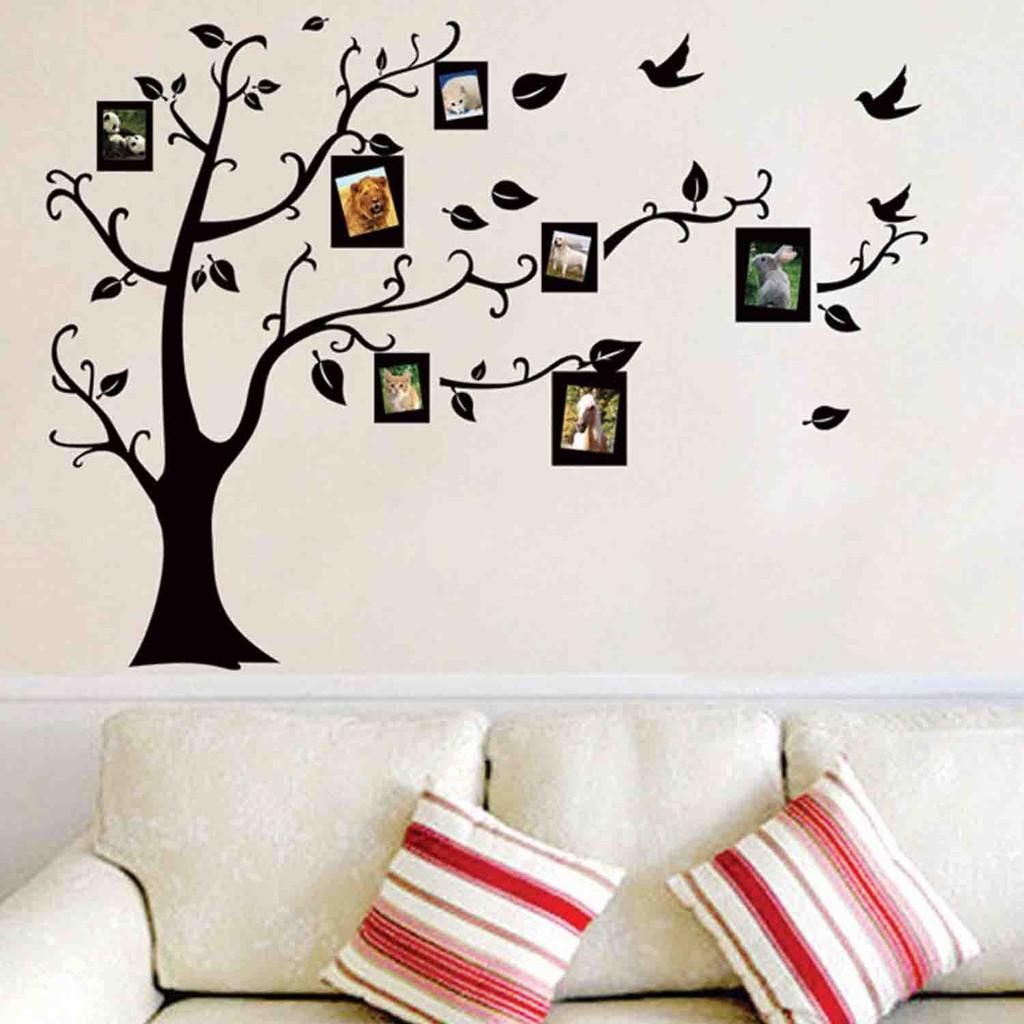 Dekorasi Ruang TV Rumah Dan Kantor Stiker Dinding Wallpaper PVC Ukuran 50 X 70cm Motif Pohon & Foto