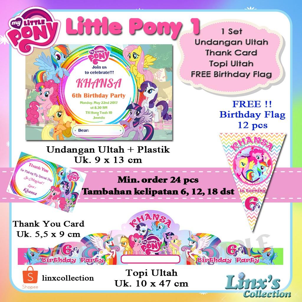 1 set undangan Ultah Anak /Kartu souvenir/topi ulang tahun ...