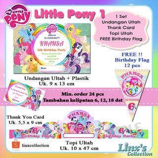 1 Set Undangan Ultah Anak Kartu Souvenirtopi Ulang Tahun My Little Pony