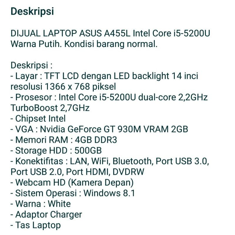laptop Asus A455L Intel core i5