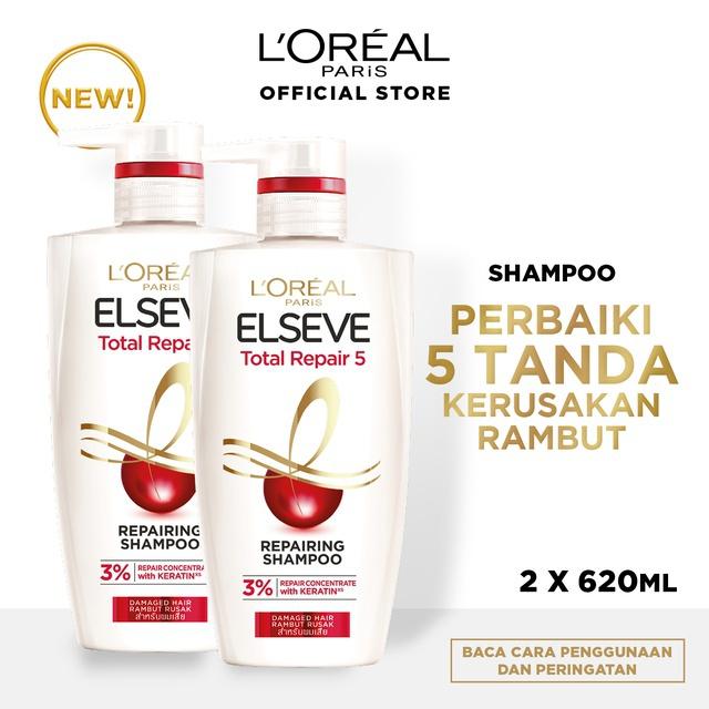 L'Oreal Paris Total Repair 5 Shampoo Hair Care 620ml  x2 Pcs [Perawatan Rambut Rusak]