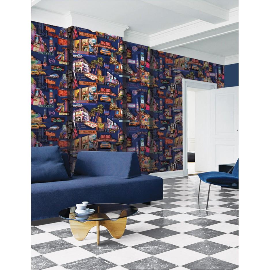 Wallpaper Dinding Korea Motif Bangunan Cafe London Blue & White
