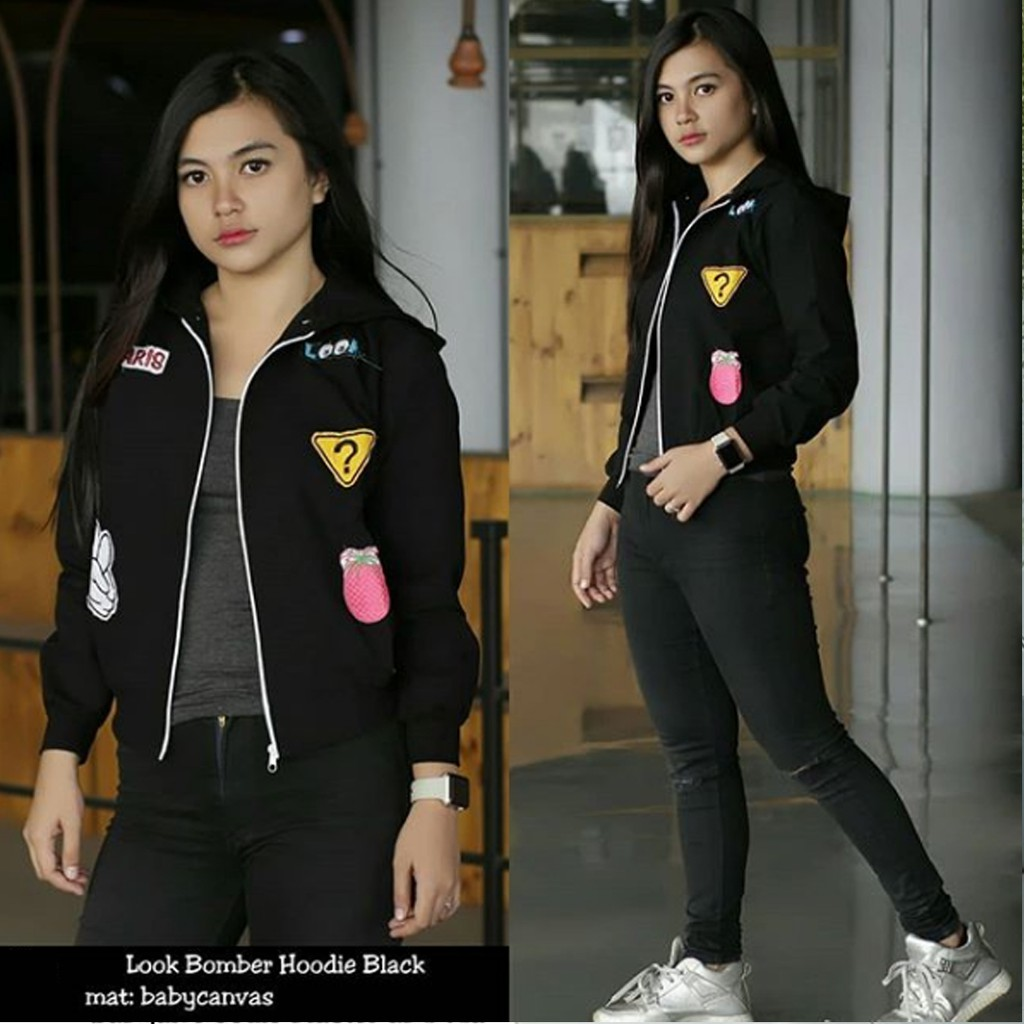JAKET LOOK BOMBER BLACK | jaket ootd | jaket casual wanita | jaket bomber wanita | grosir jaket | Shopee Indonesia