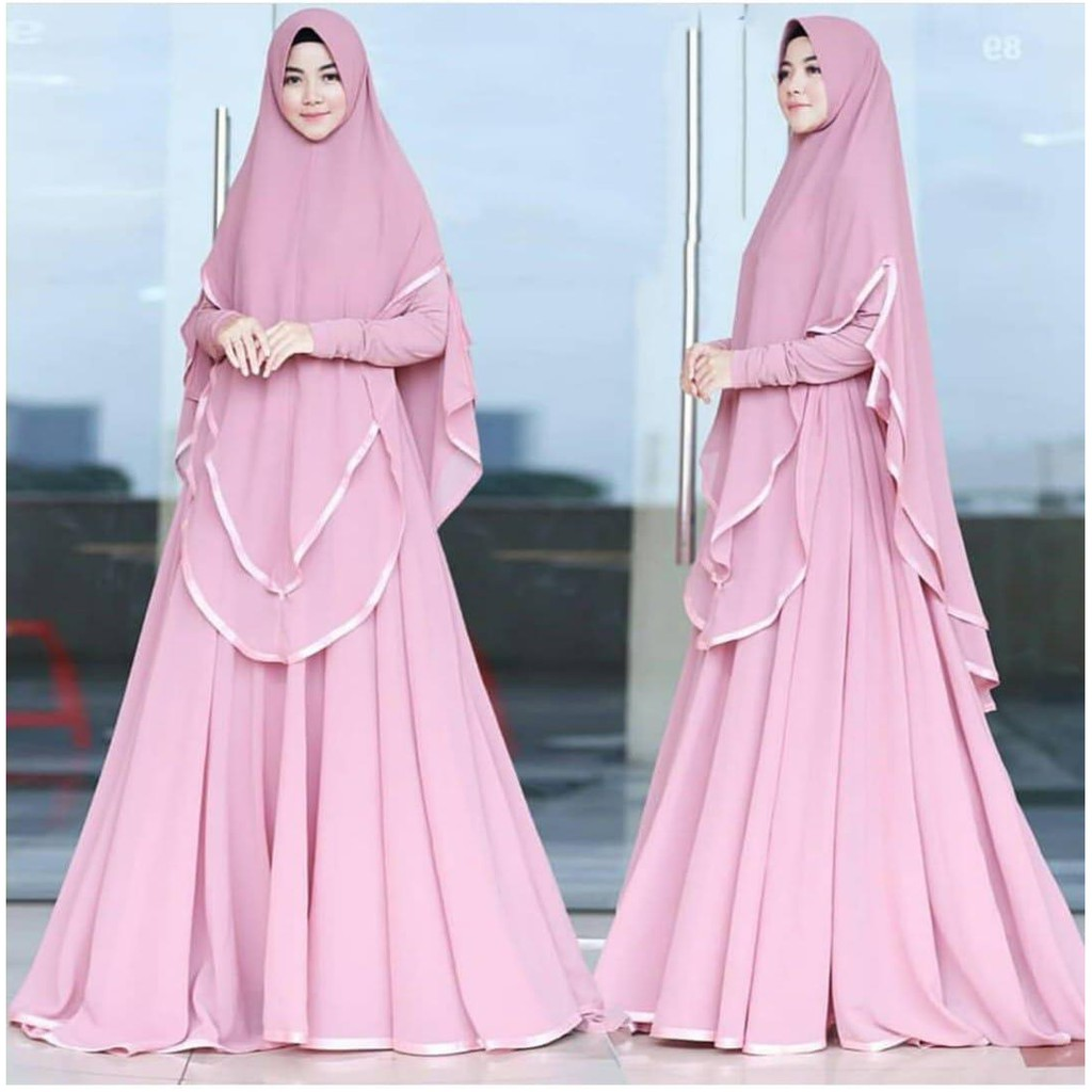 MAFAZIA SYARI+KHIMAR Moscrepe Model Baju Wanita Muslim Terbaru Dan Trendy  Dengan Motif Simpel Elegan