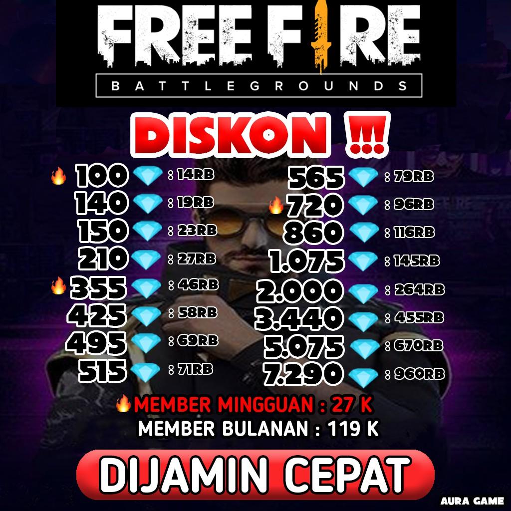Diskon Top Up Ff Alok Paket Mingguan Bulanan Auragame 16 Murah Shopee Indonesia
