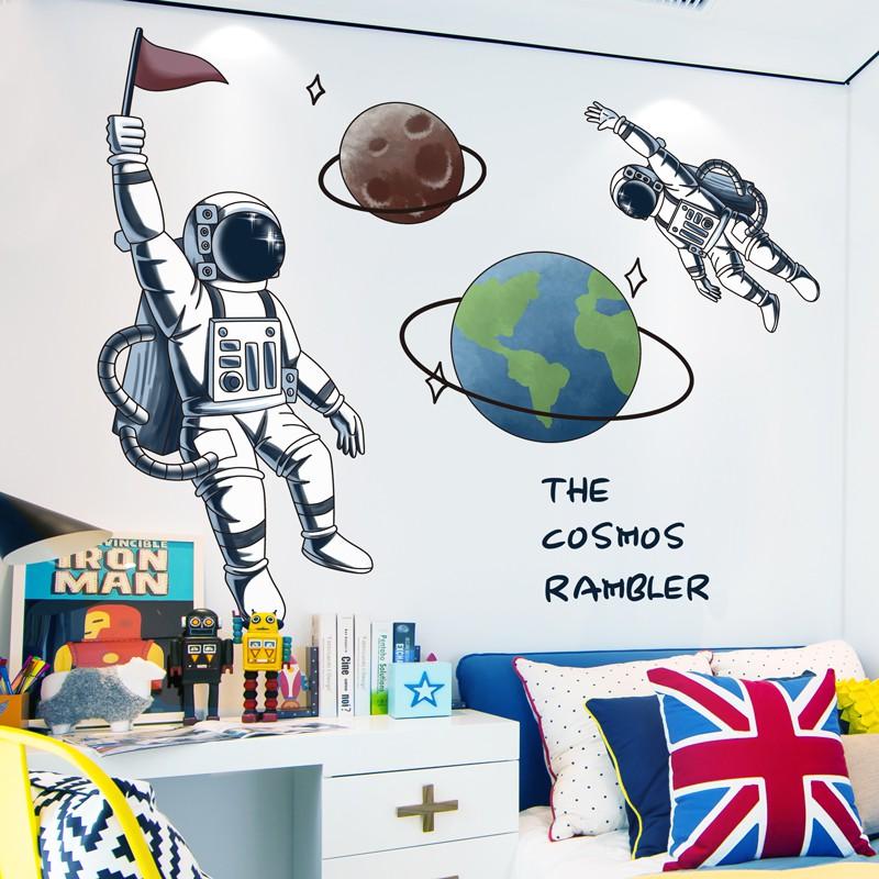 Kepribadian Kreatif Ruang Astronot Stiker Dinding Anak Laki Laki Kamar Tidur Samping Tempat Tidur Latar Belakang Hiasan Dinding Stiker Dinding Shopee Indonesia