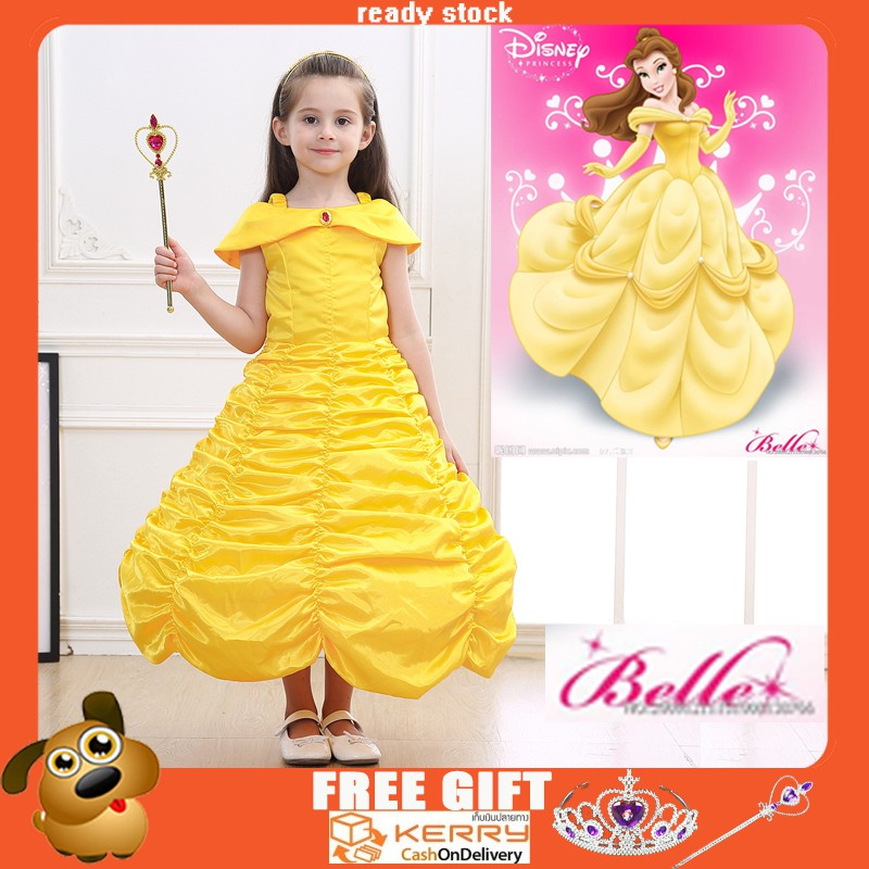 Kids Girls Costume  Princess Belle Beauty and the Beast Inspired Dress Size 5//6