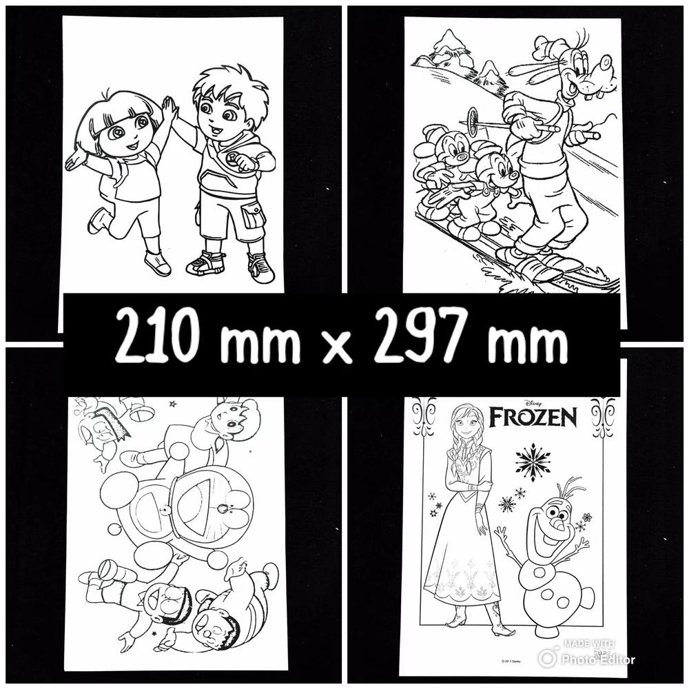 [Uk A4 25 Pcs] Kertas Mewarnai Gambar Karakter Kartun Aktivitas Coloring Book Anak TK PAUD