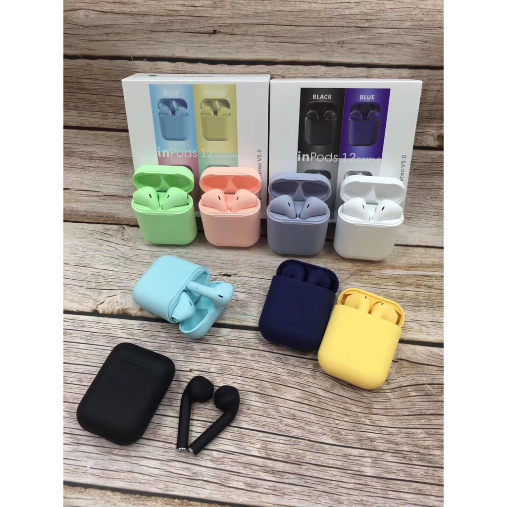 Headset Earphones Ipod 12 Inpods Warna Hands Free Bluetooth Wireless Dual Music Iphone Apple Shopee Indonesia