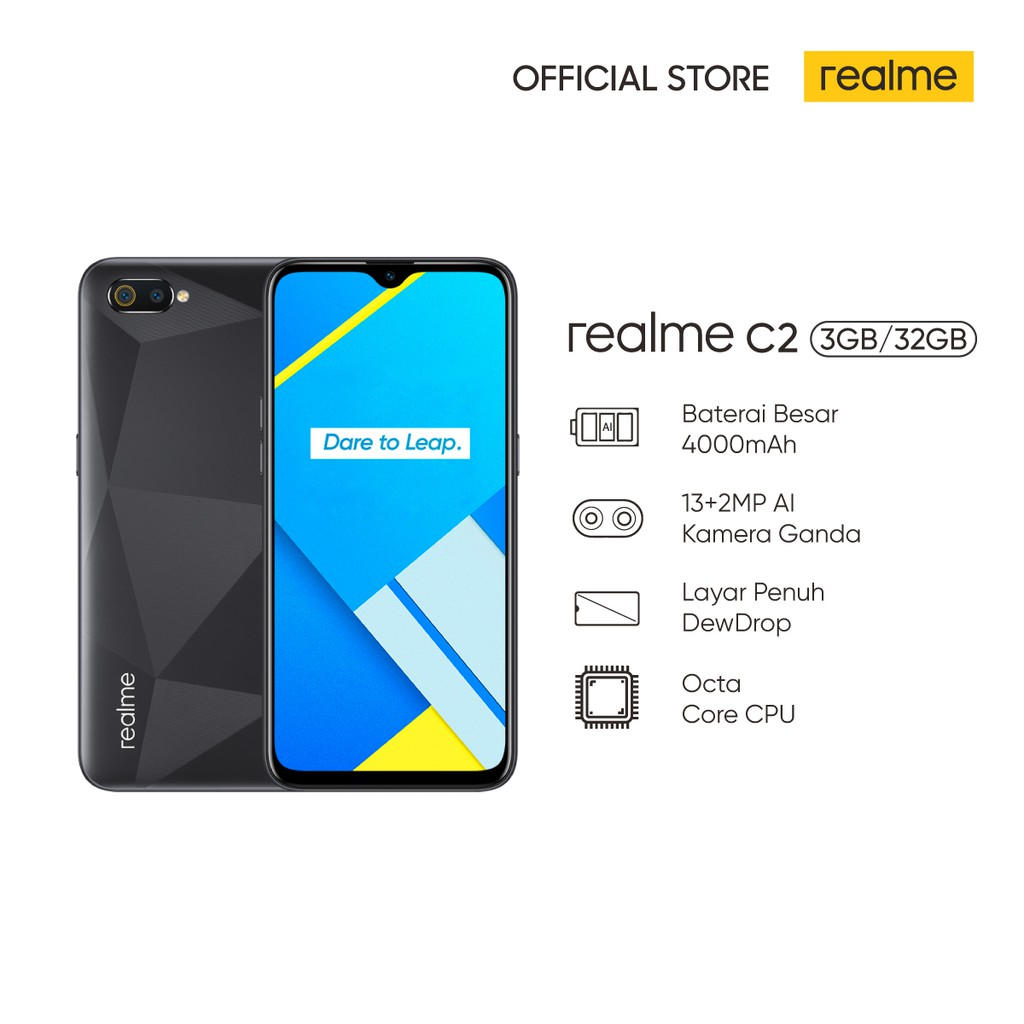 realme C2 3/32GB [Layar Penuh Dewdrop, Kamera Ganda 13MP+2MP AI ...