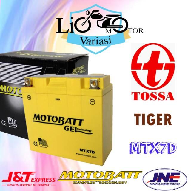 Aki Motor Tossa Tiger Motobatt MTX7D Aki gel Aki kering