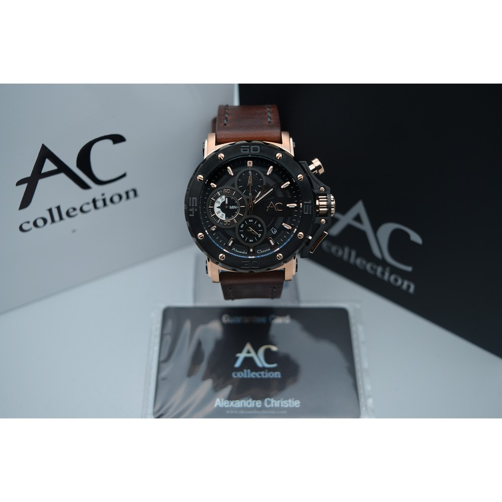 Alexandre Christie Collection Ac 9205 Rose Gold Black Leather Brown For Men Original Ac6141 Mcbtbsl