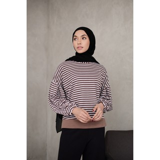 Mybamus Balloon Stripe Wrinkle Tops Mocca M15315 R51S5