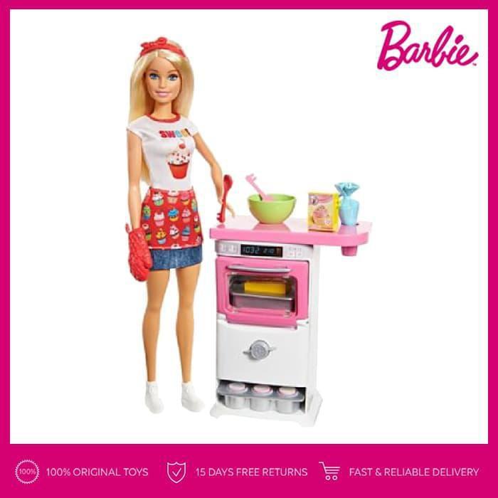 Barbie Bakery Chef Doll And Playset Boneka Permainan Toy Shopee Indonesia
