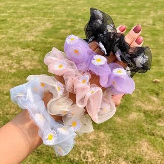 Ikat Rambut INS Korea Benang Renda Bahan Elastis Aksen Bunga Daisy Aster Gaya Untuk Wanita thumbnail