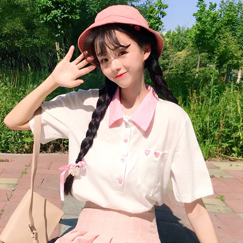 Musim panas 2018 Korea versi baru dari lengan pendek gaya Barat berjajar longgar | Shopee Indonesia