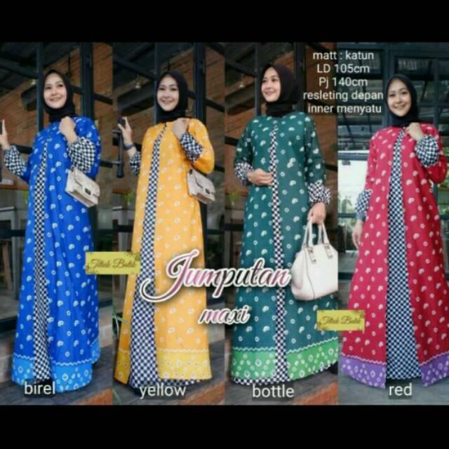Jumputan Maxi Dress Batik Lawasan Gamis Warna Baju Muslim Wanita Shopee Indonesia
