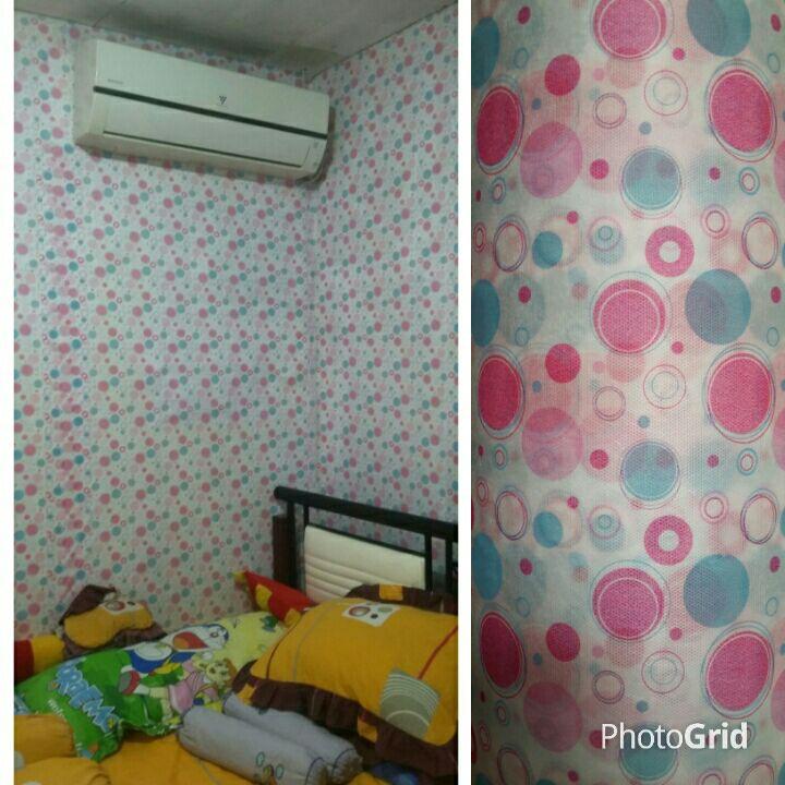 Wallpaper Dinding Lokal Doty Pink Biru Wallpaper Dinding Kamar Tidur Shopee Indonesia